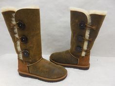 New UGG Womens 3049 Bomber Bailey Button Triplet Suede Sheep Snow Boots Size 8 #UGGAustralia #SnowWinterBoots #Casual