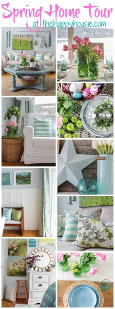 Tons of spring decor inspiration in this beautiful spring home tour at thehappyhousie.com