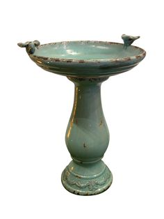 $102, various colors. Alpine Antique Ceramic Bird Bath with 2 Birds | Wayfair