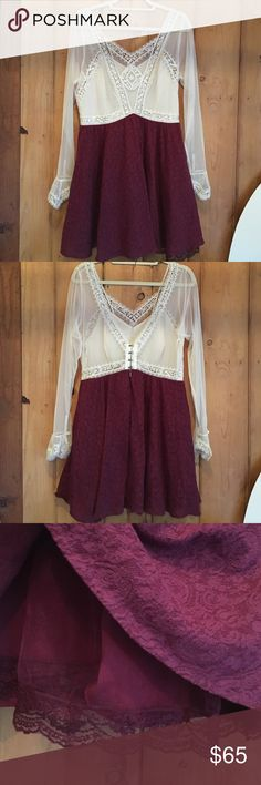 NWOT FP Victorian Lace Mini Dress Absolutely gorgeous Free People Dress in maroon and ivory. Full swing skirt double lined with tulle to create a flared effect. Ivory mesh bodice lined in front only. 4 hook and eye closures in the back + zipper. Fits true to size. New without tags - took them off before I ever wore it. Free People Dresses Mini