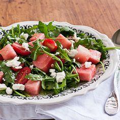 Watermelon and arugula salad with tomatoes and fresh basil vinaigrette