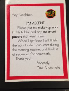 I'm Absent folder cover FREEBIE! Use this to have your students help organize and collect work for absent students. I have a folder for each absent student, but I like this. Laminate the letter and write the student's name on it. Classroom Procedures, Classroom Organisation, Teacher Organization, Classroom Management, Behavior Management, Organized Teacher, Class Management, 5th Grade Classroom, Future Classroom