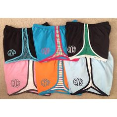 Monogram athletic/running Shorts ($23) ❤ liked on Polyvore featuring activewear, activewear shorts, grey, women's clothing and athletic sportswear