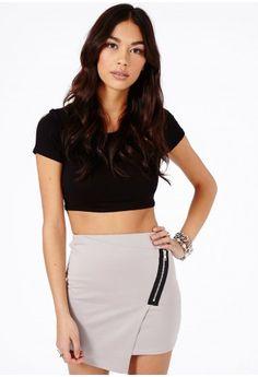 Ernestina Zip Detail Asymmetric Mini Skirt In Black - Skirts - Missguided
