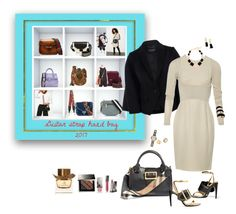 """""""Style your bag...Elsa's Wardrobe Group Contest"""" by deborah-518 ❤ liked on Polyvore featuring Burberry, Elie Saab, DIANA BROUSSARD and BaubleBar"""