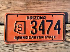 "Vintage 1966 Arizona State Government License Plate 3474 ""Grand Canyon State"" by AmericanAntique on Etsy https://www.etsy.com/listing/479154706/vintage-1966-arizona-state-government"