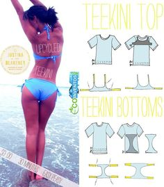 Recycle an Old T-Shirt Into a Sexy Eco-Bikini (DIY Tutorial) this would be awesome for an old band shirt