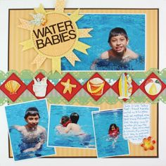 Water Babies Beach Watercolor Stickers Scrapbook Layout Page Idea