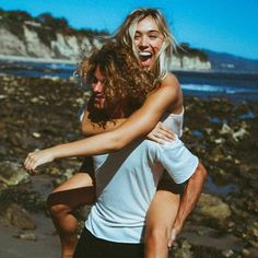 Couple fun at the beach, never stop each other's company #happiness #love