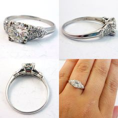 Antique Platinum Edwardian Art Deco Diamond Engagement Ring  seriously this is perfectttt.