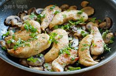 Chicken and Mushrooms in a Garlic White Wine Sauce | Skinnytaste  This tastes just like coq au vin, if you add vidalia onions.