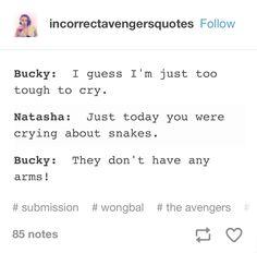 Bucky, you only have one, sooooo. Marvel Funny, Marvel Memes, Marvel Avengers, Marvel Comics, Bucky And Natasha, Bucky And Steve, Bland Marvel Headcanon, Black Widow Winter Soldier, Stucky
