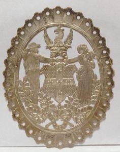 Victorian-Die-Cut-Silver-Dresden-Embossed-Fabric-Scrap-Label-Man-Woman-Crest