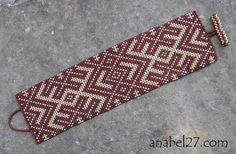 Широкий браслет из бисера с народным орнаментом