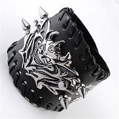 Zysta Gothic Biker Mens Silver Metal Skull Bracelet Black Wide Genuine Leather Wristband Cuff Punk Bangle. Material: Genuine Leather & Alloy. Width: 33-67mm; Skull: 69*41*5mm; Spike: 7*7*18mm. Bracelet Length:Adjustable 6.5-8 inch;. Quantity: 1 piece. Fashion punk rock bracelet for mens and womens.