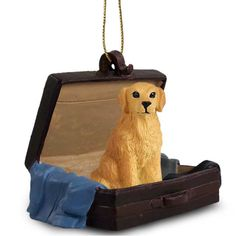 Realistic Hand Painted Golden Retriever Traveling Companion in a Suitcase
