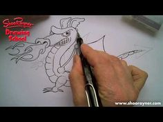 How to draw a cartoon dragon by Shoo Rayner the popular childrens illustrator.