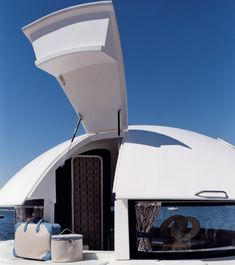 """Pierre Cardin's aqua pod home in St. Tropez - The revolutionary real-life home inspired by the final scene in """"The Spy Who Love Me"""" is the brainwave of French architect Jean-Michel Ducancelle.  Relates to a  future type of housing."""
