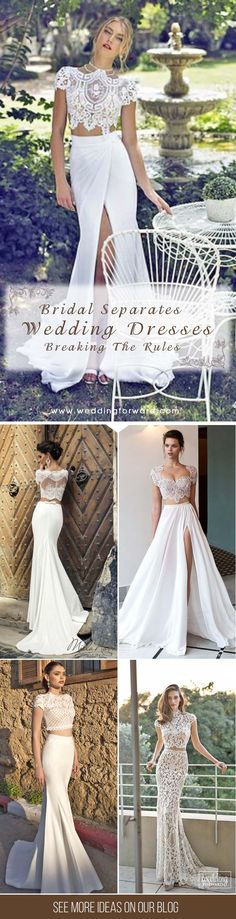 On Trend: 24 Bridal Separates - Breaking The Rules ❤ We like the idea of bridal separates gowns. The best part about wedding dress separates is that you can mix and match to create a perfect look. See more: http://www.weddingforward.com/breaking-the-rules-bridal-separates/  #wedding #dresses #separates
