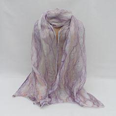 Nuno felted cobweb scarf, wool on silk, lilac blend £25.00