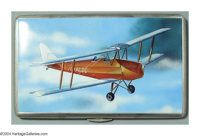 AN ENGLISH SILVER AND ENAMEL CIGARETTE CASE WITH AVIATION SCENE Mark of F.C. Richards, Birmingham, 1921  The case with e...
