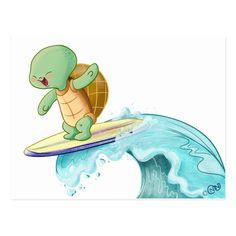 Shop Cute Turtle Surfing Kawaii Postcard created by Cutie_Kawaii_Store. Tiny Turtle, Turtle Love, Turtle Background, Surf Drawing, Cute Baby Turtles, Kawaii Turtle, Cute Seals, Beach Illustration, Tortoise Turtle