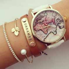 3 Colors New Arrival World Map Leather Strap Watches?(White