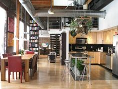 To make the loft's open floor plan work, the clutter had to be eliminated. HGTV fan achieves a thoroughly modern look in his urban Philadelphia loft by only showcasing sleek, purposeful designs. Everything is on display, yet everything you see has a use. Home Design, Küchen Design, Rustic Design, Design Ideas, Design Inspiration, Studio Design, Beautiful Kitchen Designs, Beautiful Kitchens, Loft Spaces