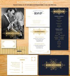 Wedding Invitation from the Gatsby Collection - Beautiful, ornate, art deco style of the 1920s era. $22.00, via Etsy.
