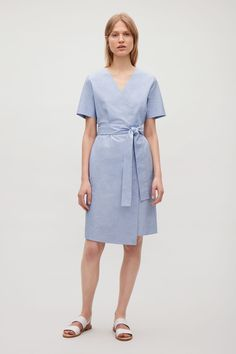 COS image 1 of Wrap-over cotton dress in Sky Blue