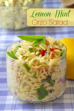 Lemon Mint Orzo Salad - a super easy, super fresh pasta salad that makes a delicious barbecue side dish or an accompaniment to leftover cold cuts for lunch!