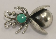 Maisels Indian Trading Post 3 Turquoise & Silver Bee Bug Brooch Sterling Signed #MaiselsTradingPost3