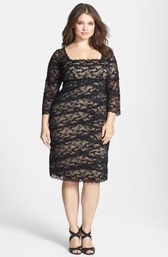 Marina Tiered Lace Sheath Dress (Plus Size) available at #Nordstrom
