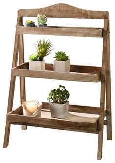 Foldable Wooden Plant Stand for Outdoor or Greenhouse, Three Shelves #GD221582 - rustic - Plant Stands And Telephone Tables - Pier Surplus