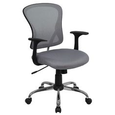 iHome Brielle Collection Mid-Back Gray Mesh Swivel Home/Office Task Chair w/Chrome Base & Arms, Grey