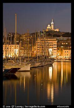 Old Harbor and Basilica Notre Dame de la Garde ~ Marseille, France