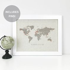 World travel map diy kit includes red heart stickers traveler personalized push pin travel map 2 sizes travel gift anniversary gift map gumiabroncs