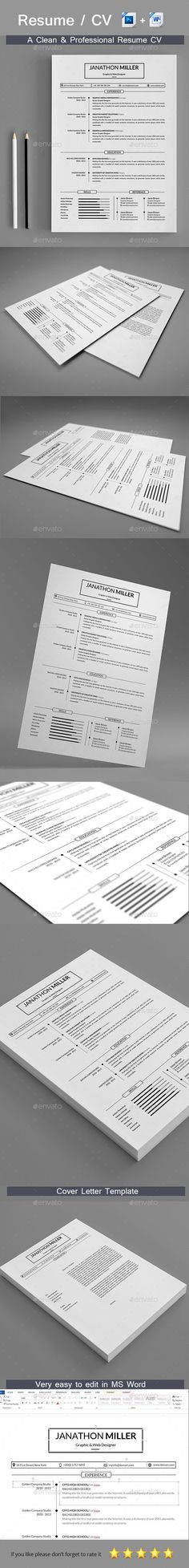 Word Resume Template - Resume Template for Word + Cover Letter - cover letter microsoft word