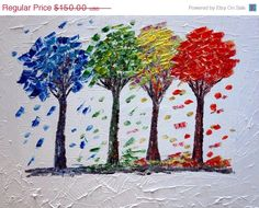 Abstract Art FOUR SEASONS Modern Oil Painting Red by LUIZAVIZOLI