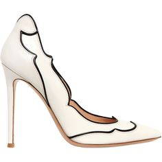 GIANVITO ROSSI 100mm Leather Pumps ($473) ❤ liked on Polyvore featuring shoes, pumps, heels, white, white pointy-toe pumps, pointy-toe pumps, white shoes, pointed toe high heel pumps and white high heel shoes