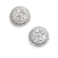Women's Bony Levy 'Mika' Round Halo Diamond Stud Earrings (13.950 BRL) ❤ liked on Polyvore featuring jewelry, earrings, white gold, diamond jewelry, 18k jewelry, sparkle jewelry, 18k earrings and diamond earring jewelry