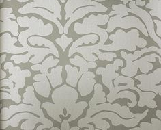 Powder Room  Imperia Wallpaper Contemporary damask wallpaper in grey and silver