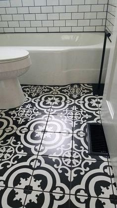 Haymount Homes Glenville House Bathroom Della Torre Cementina Black And White Ceramic Floor Wall Tile
