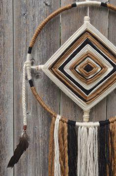 Ojo de Dios by Chapawee on Etsy Yarn Crafts For Kids, Diy And Crafts, God's Eye Craft, Dream Catcher Mobile, Gods Eye, Cow Art, Finger Knitting, Mobiles, Boho Diy