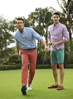 My summer wardrobe ! Blue gingham, red gingham Dusty pink chinos, green short White sneakers, brown boat shoes