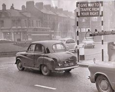 EARLY ADOPTER: Middlesbrough appears to have been the first town in the area to employ roundabouts – the large sign on the right of this picture, taken on December informing drivers how to use them. Home History, Local History, Northern England, England Uk, Old Pictures, Old Photos, Middlesbrough, Old Street, Bus Stop