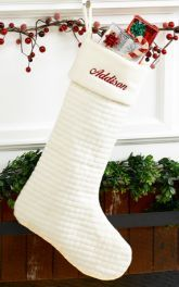 Personalized Christmas Stocking - Quilted Soft Cotton Ivory. Repinned by www.mygrowingtraditions.com