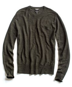 Todd Snyder - Charcoal Linen Twist Pocket Crew Sweater