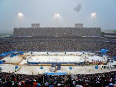 2008 NHL Winter Classic at Ralph Wilson Stadium in Orchard Park, NY - first of the outdoor NHL games. Sabres vs Penguins, we lost in a shootout