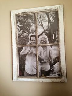 Window Picture Frame with black and white engineers photo Super cheap and easy pane ideas pictures Window Photo Frame, Window Frame Decor, Old Window Frames, Old Picture Frames, Hanging Picture Frames, Window Art, Picture Wall, Old Window Ideas, Vintage Window Decor